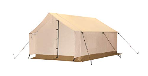 White Duck Outdoors Complete Canvas Wall Tent with Aluminum Frame and PVC Floor for Elk Hunting, Outfitter and Camping (10'X12′ Fire Water Repellent)