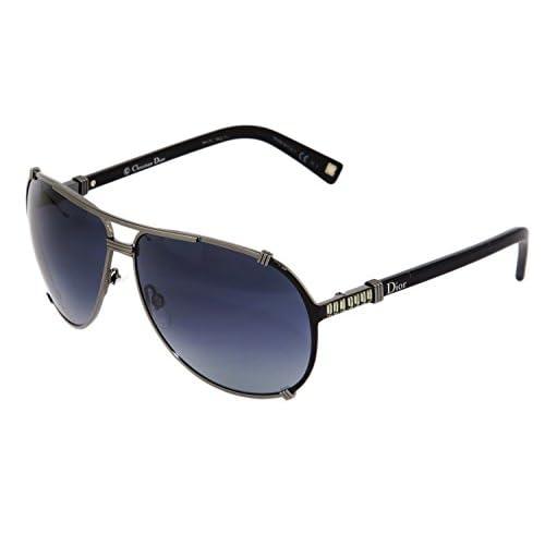 4b8af1cf76 chic CHRISTIAN DIOR CHICAGO 2STR Strass Ruthenium Black Blue Aviator  Sunglasses