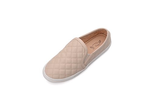 Ashley A Collection (WANDA01 Women Canvas Fierce Quilt Pattern Slip On Fashion Sneakers, Nude - Quilt Reese