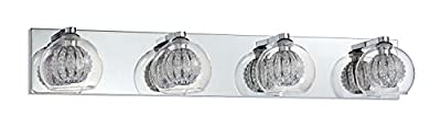 Kendal Lighting VF6300-4L-CH Siena 4-Light Vanity Fixture, Chrome Finish and Clear Glass and Crystal Accents