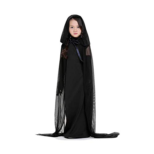 Yaxuan Black Ghost Girl Ghost Night Costume Halloween Queen Costume Witch Costume Girls' Halloween/Carnival / Children's Day Festival/Holiday,Black,M ()