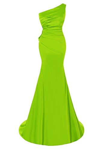 Bess Bridal Women's Elegant One Shoulder Mermaid Appliques Prom Evening Dresses US4 Lime Green