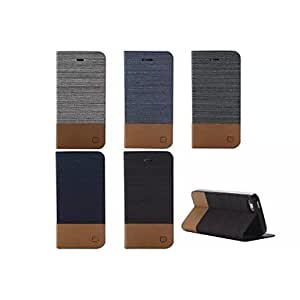 YULIN Canvas Lines Hit Color No Buckle PU Leather Full Body Case for iPhone 5/5S(Assorted Colors) , Dark Blue