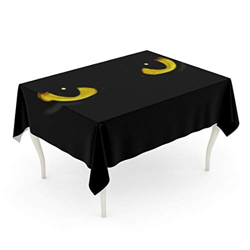 Tarolo Rectangle Tablecloth 60 x 84 Inch Yellow Panther Cat Eyes in Dark Night Green Black Animal Halloween Spooky Glow Table -
