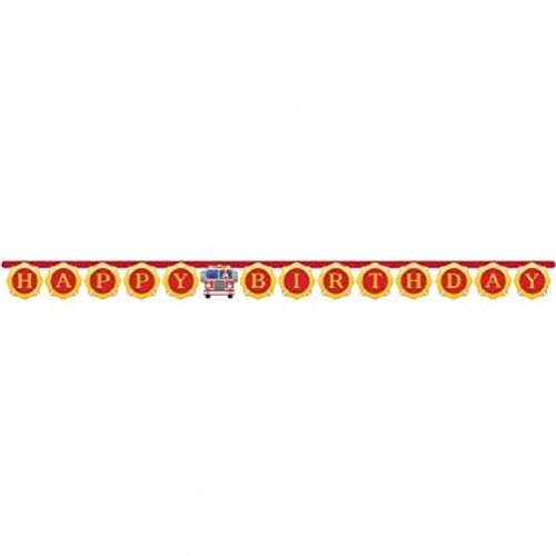 (hersrfv home Flaming Fire Truck Happy Birthday Jointed Banner 6.3