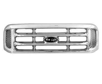 New Front Grille For 1999-2004 F-Series & F-150, 1999 F-250 Super Duty All Chrome FO1200417 1C3Z8200BAA