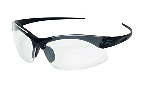 Shooting Shields - Edge Eyewear Sharp Edge Thin Temple Glasses, Matte Black Frame/Clear Vapor Shield Lens
