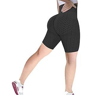 ED express Women's Honeycomb Ruched Butt Lifting High Waist Yoga Pants Chic Sports Stretchy Leggings (Short c Black, L)