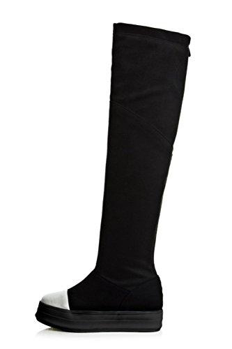 Balamasa-dames Aantreklaarzen Stevige Suède Laarzen Zwart