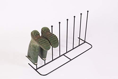 NEO Steel Black Powder Coated Boot Rack 4 Pairs Wellie Welly Holder Stand Storage
