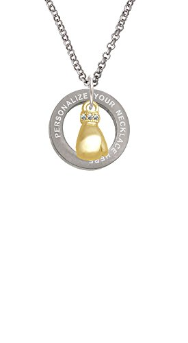 (Cheer Bunny Goldtone Small Boxing Glove Custom Engraved Affirmation Ring Necklace)