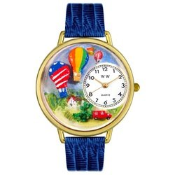 Whimsical Watches Unisex G1610010 Hot Air Balloons Royal Blue Leather Watch