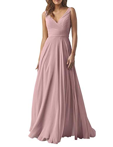 (Yilis Women's Chiffon A Line Double V Neck Long Bridesmaid Dress Formal Evening Prom Gown Dustypink US12)