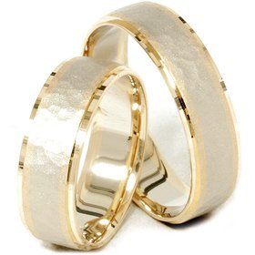Pompeii3 Inc 14K Gold Matching Two Tone Hammered Wedding Ring Set