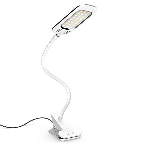 Clip-on Table Lamp, OxyLED Dimmable Eye-Caring LED Desk Lamps, Clip Book Light, Desk Clamp Light, Flexible Gooseneck Light, Clamp Reading Light, 2 Brightness Level & 3 Light Color, T34, White