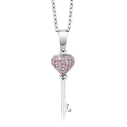 Gem Stone King Sterling Silver Heart Shape Created Pink Sapphire Key Pendant Necklace 0.18 cttw with 18inches Silver Chain