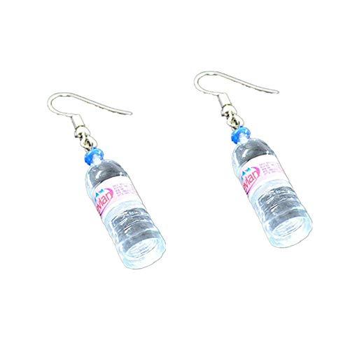 RUIZHEN Unique Water Bottle Drop Dangle Earrings Creative Earrings (red)