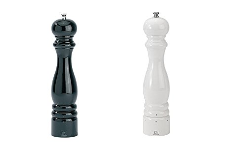 Peugeot Paris U'Select Lacquer Salt And Pepper Mill Set 12'', Black And White by Peugeot