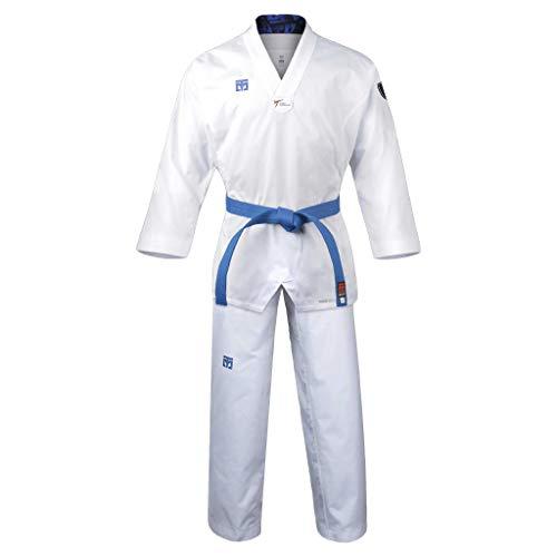 Mooto Korea Taekwondo Extera S6 Uniform with White V-Neck for Competition Dobok TKD Martial Arts MMA Judo Karate Hapkido (130(Height: 130~139cm)(4.27~4.56ft))