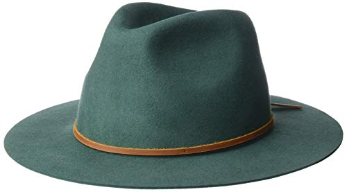 Brixton Men's Wesley Medium Brim Felt Fedora HAT, Emerald, XL