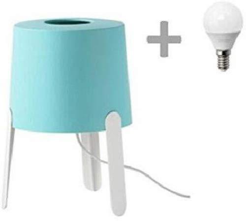 Lámpara de mesa Ikea Tvars, color Turquesa, con Bombilla LED incluida: Amazon.es: Iluminación