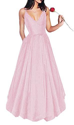 Yangprom Long Spaghetti Straps V-Neck Satin A-line Prom Dress with Pockets (4, Pink)