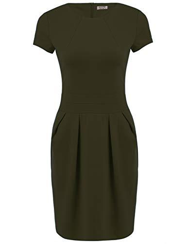 ACEVOG Women's Work Dress Official Wear to Work Retro Business Bodycon Pencil Dress Army ()
