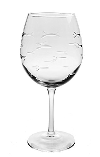 School of Fish Balloon Wine Glasses 18 oz set of 4 -