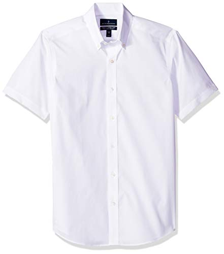 Non Iron Shirt - BUTTONED DOWN Men's Tailored Fit Stretch Button-Collar Short-Sleeve Non-Iron Shirt, White, 16