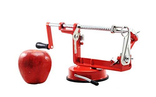 Apple peeler slicer corer by Cook Pal - Suction base and Cast Iron frame - Potato and Orange Peeler - Stainless Steel - Peeler Chrome