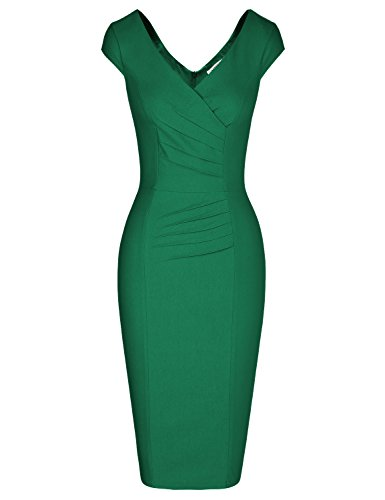 MUXXN Lady Charming Low Cut Neck Wrap Empire Waist Juniors Prom Pencil Dress (Green XL)