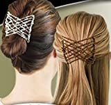 EZ Combs COMBO Hair Styling Bands As Seen On TV - Caramel Bronze, Dazzling Silver, Sahara Sandalwood, and Classic Bermuda Black Combo