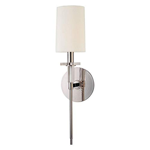 Amherst 1-Light Wall Sconce - Polished Nickel Finish with Off White Faux Silk Shade