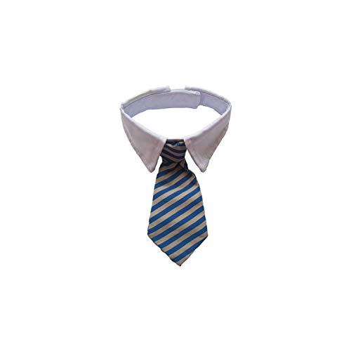 (Casual-Life Striped Pet Tie Polyester + Cotton Gentleman Style Dog Cat Necktie Dropshipping,Blue,S)
