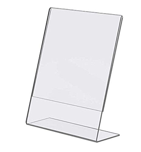 Tag Plastics Acrylic Sign Holder 8.5 W x 11 H Slant Back Design Clear Sign Display Holder Plastic Display Stands - Pack of 12