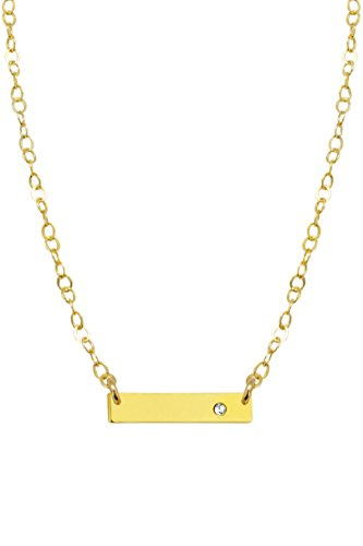Bar with Gem Necklace with White Swarovski - Blog Style Jenner Kylie Kendall And