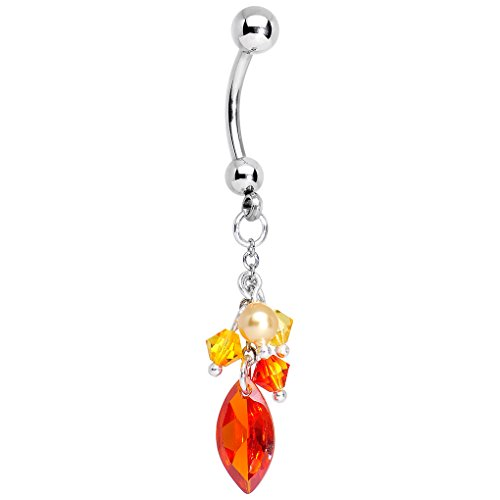 (Body Candy Stainless Steel Flame Dangle Belly Ring Created with Swarovski Crystals)
