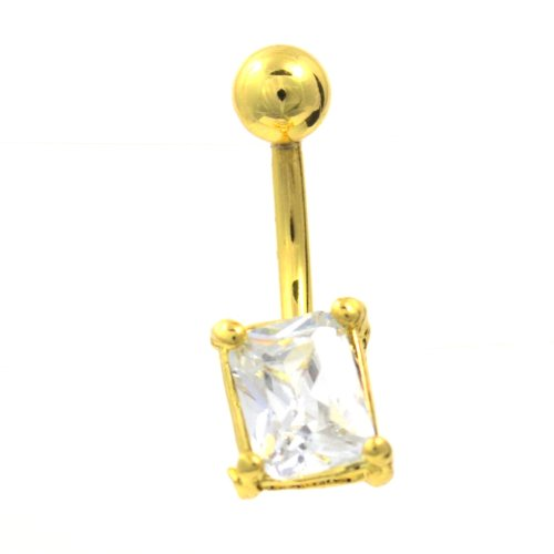 Gold Plated Clear Square Gem Navel Ring Belly Button Piercing Jewelry