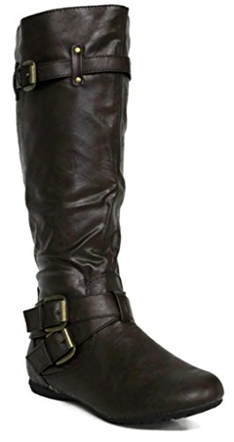 Footwear Kali Buckle Double Boots Arcade Women's Fashion Brown Flat BqwHZnAqd6