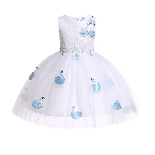 iFOMO 2-7T Girls Princess A-line Sleeveless Crewneck Lace Floral Embroidered Gown Dresses for Wedding Party Homecoming Prom White-2 Height:150cm