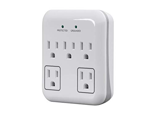 Monoprice 5 Outlet Surge Protector with 2 Transformer Outlets - White | ETL Rated 900 Joules with Grounded and Protected Light Indicator for Small Indoor ()