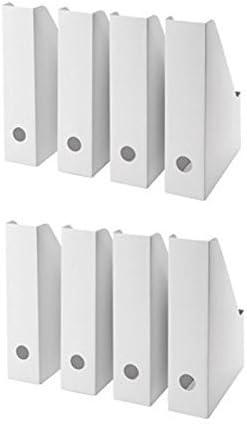 IKEA Blanc Magazine fluns fichier Support livre papier document Organisateur de rangement organiseur Bureau par sortie Lizzy Lot de 8: Amazon.es: Hogar
