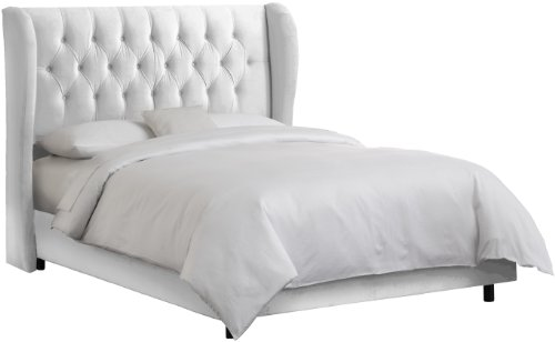 Skyline Furniture Waveland Wingback King Bed Upholstered in Velvet White