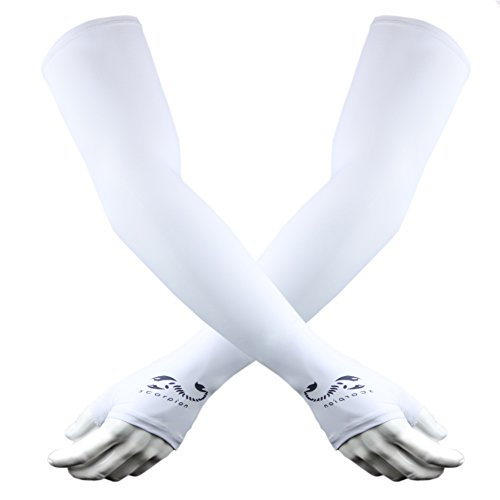 The Elixir Scorpion Sun Protection Cycling Compression Arm Sleeves Hand Cover Cycling Gear, Ideal for Basketball, Baseball, Driving, Golf, Hiking, Tennis (White)