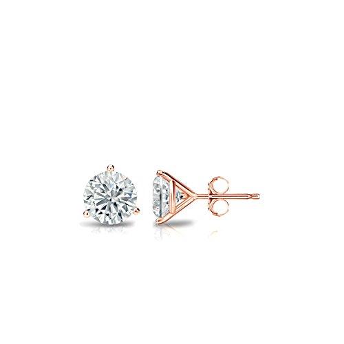 (Diamond Wish 14k Rose Gold Round Diamond Stud Earrings (1/3 cttw, J-K, I1-I2) 3-Prong Martini set with Push-Back)