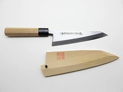 Yoshihiro Yasuki White Steel #2,HONGASUMI Japanese Style Garasaki Knife, with Wooden Saya Cover (150mm/5.9'')