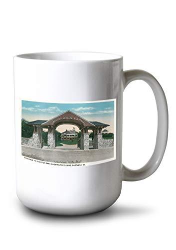 Lantern Press Portland, Maine - View of The Riverton Park Entrance Showing The Casino (15oz White Ceramic Mug)