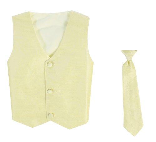 Vest and Clip On Baby Boy Necktie set - YELLOW - 2T/3T (Yellow Vest Boys)