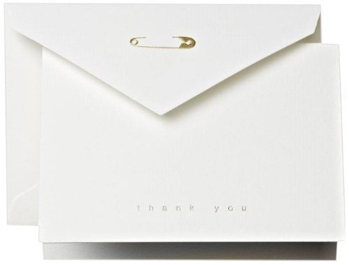Crane & Co. Foil Stamped Diaper Pin Thank You Note- Pack of 20 Cards by Crane & Co.