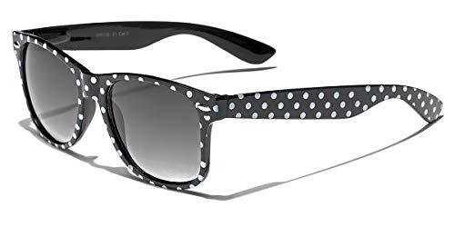 Polka Dot Retro Fashion Sunglasses - 100% UV400 - Black -